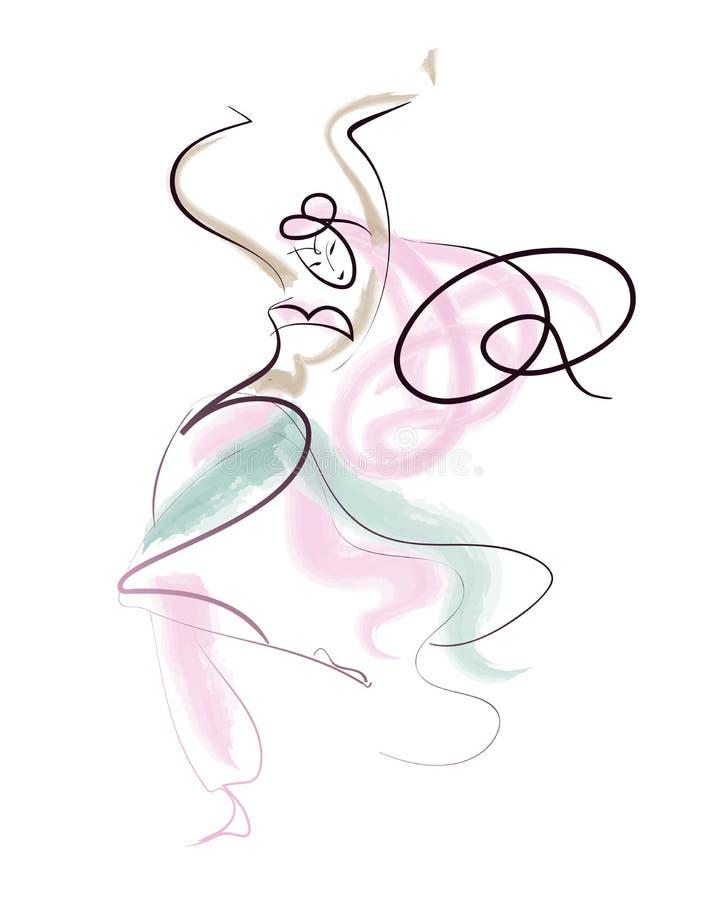 Uitvoerder van de de tekenings de oosterse dans van de lijn royalty-vrije illustratie