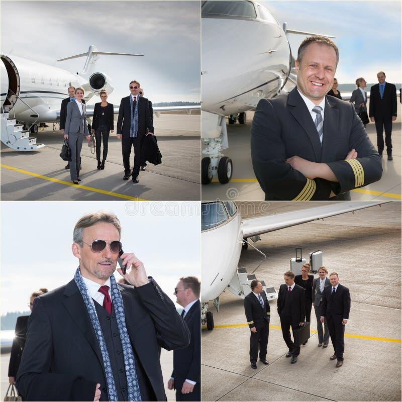 Uitvoerende commerciële team collectieve straal - bedrijfsreis stock foto's