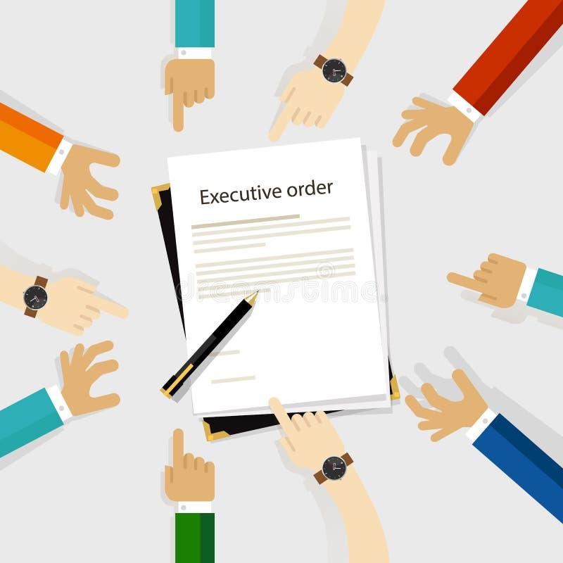 Uitvoerende het gezagsregelgeving van de ordevoorzitter document en pen om rond de ondertekende handen van de diversiteitspartici vector illustratie