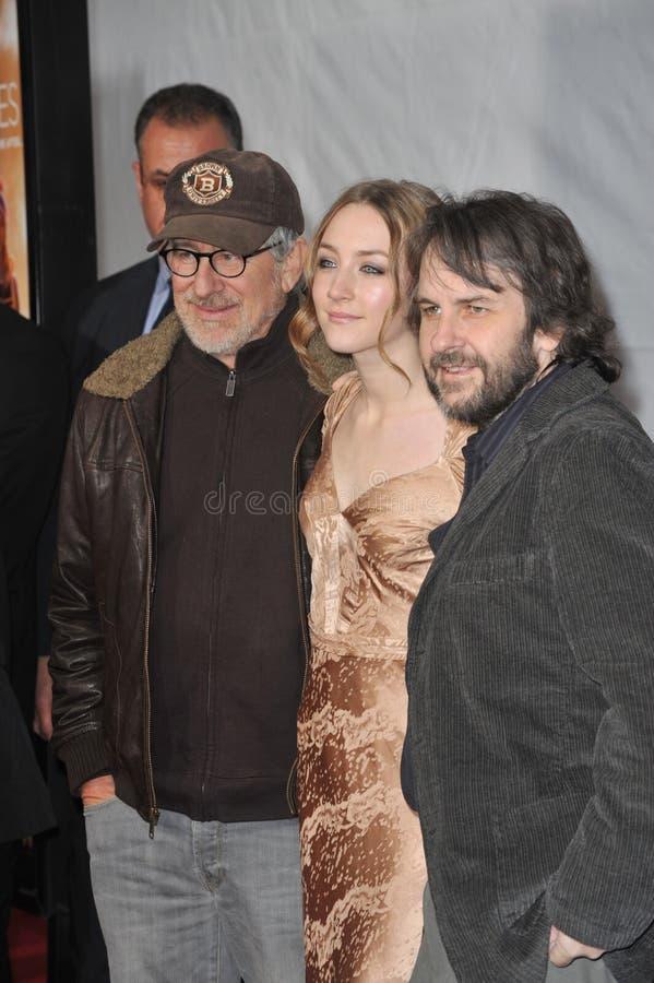 Peter Jackson, Saoirse Ronan, Steven Spielberg, Jacksons stock afbeelding