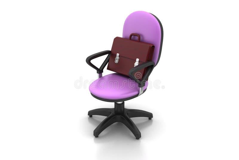 Uitvoerende stoel met aktentas royalty-vrije illustratie