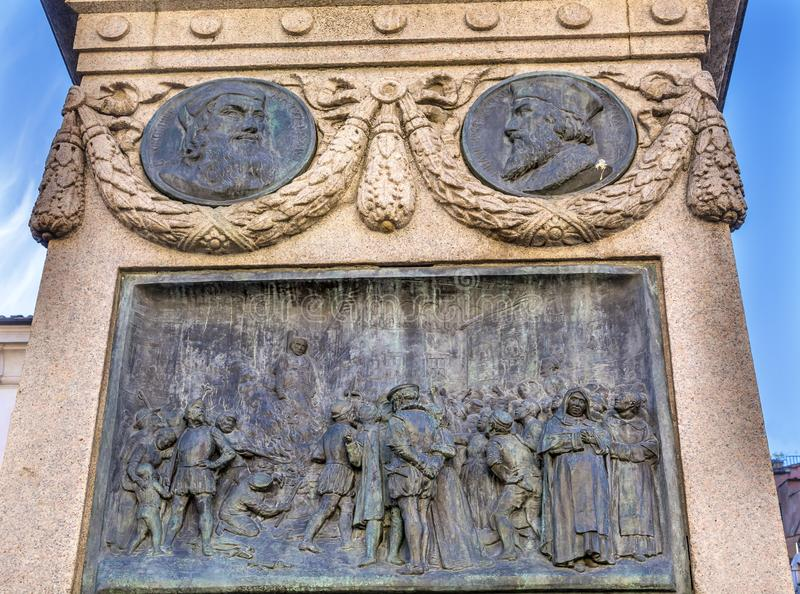 Uitvoering Giiordano Bruno Statue Campo de& x27; Fiori Rome Italië royalty-vrije stock foto's