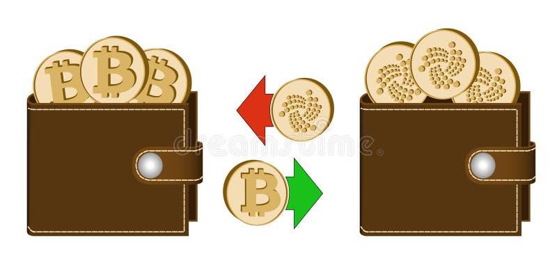 Uitwisseling bitcoin aan jota tussen portefeuilles stock afbeelding