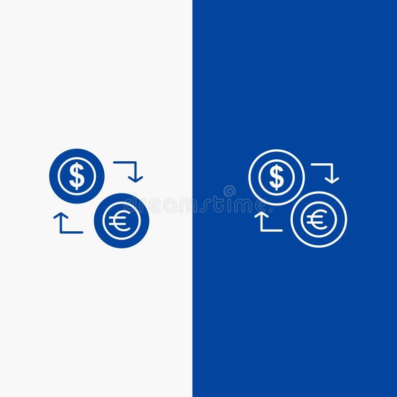 Uitwisseling, Muntstukken, Munt, Dollar, Euro, Financiën, Financiële, Geldlijn en Lijn van de het pictogram Blauwe banner van Gly royalty-vrije illustratie