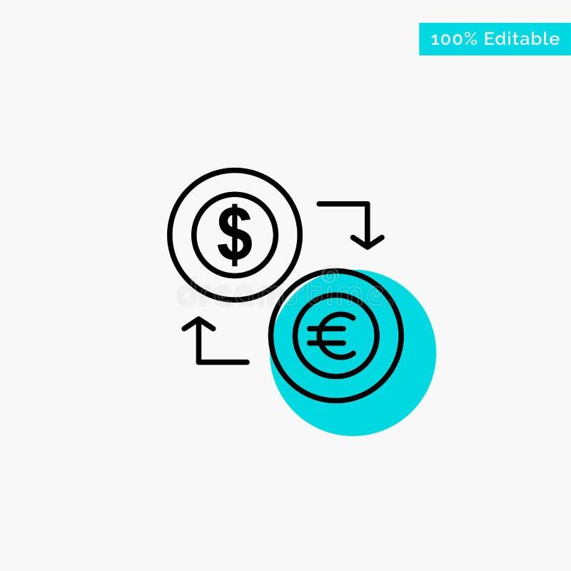 Uitwisseling, Muntstukken, Munt, Dollar, Euro, Financiën, Financieel, van het de cirkelpunt van het Geld het turkooise hoogtepunt royalty-vrije illustratie