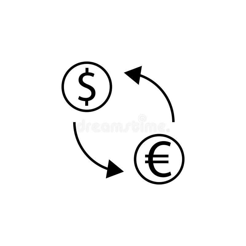 Uitwisseling, pijl, dollar, euro pictogram Element van financiënillustratie Tekens en symbolen het pictogram kan voor Web, emblee royalty-vrije illustratie