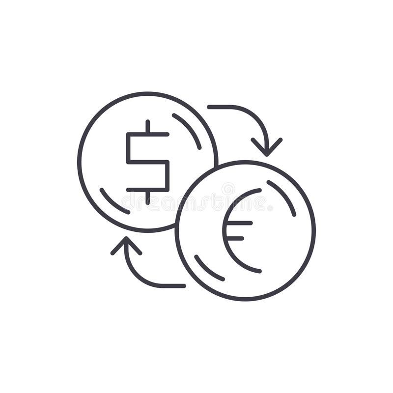 Uitwisseling van dollars voor het pictogramconcept van de eurolijn Uitwisseling van dollars voor euro vector lineaire illustratie royalty-vrije illustratie
