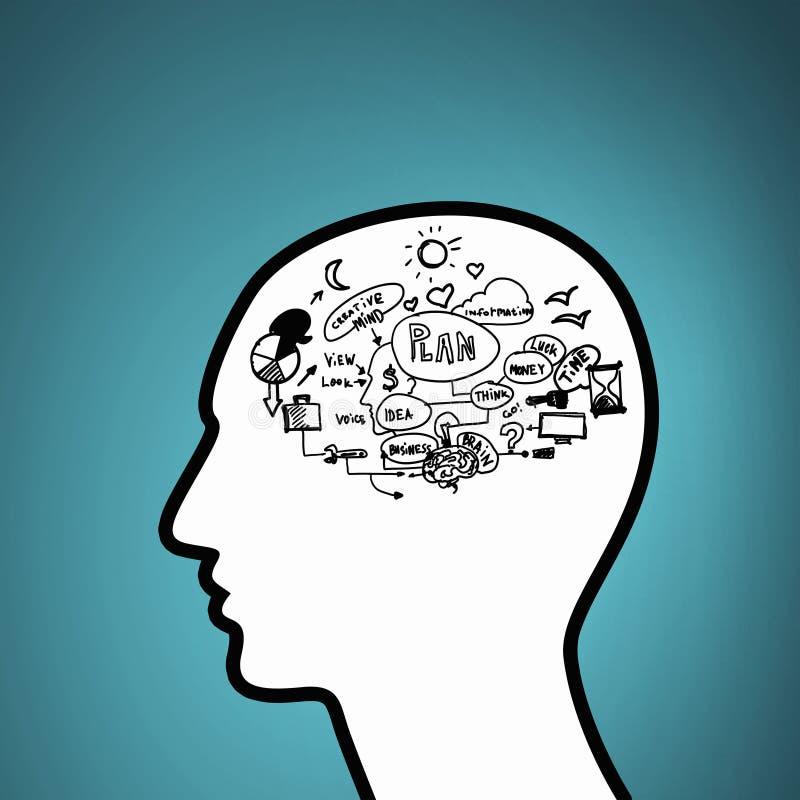 Uitwisseling van ideeën in hoofd royalty-vrije illustratie