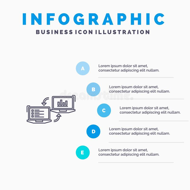 Uitwisseling, Zaken, Completers, Verbinding, Gegevens, het pictogram van de Informatielijn met infographicsachtergrond van de 5 s royalty-vrije illustratie