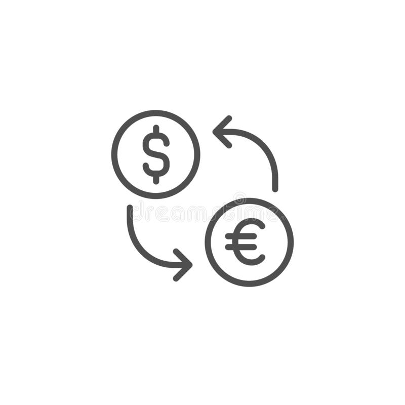 uitwisselings vectorpictogram Euro dollarmunt Het Teken van het geldcontante geld Het lineaire dunne vlakke ontwerp van het lijno stock illustratie