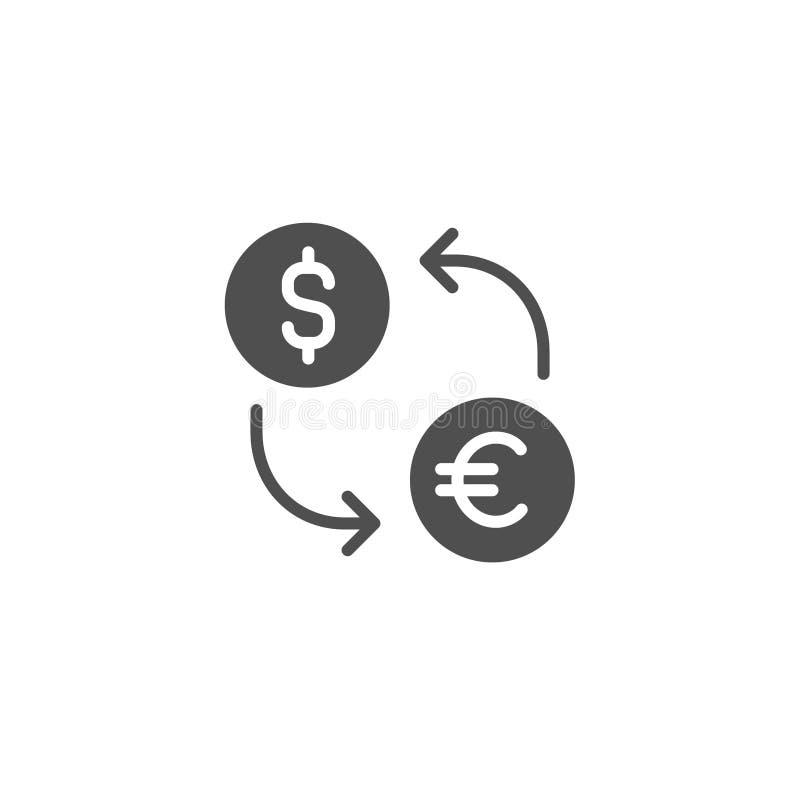 uitwisselings vectorpictogram Euro dollarmunt Het Teken van het geldcontante geld Vlak die ontwerp voor Web, website, mobiele toe stock illustratie