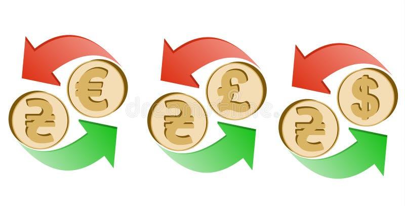 Uitwisselingshryvnia aan euro, pond Sterling en dollar stock foto