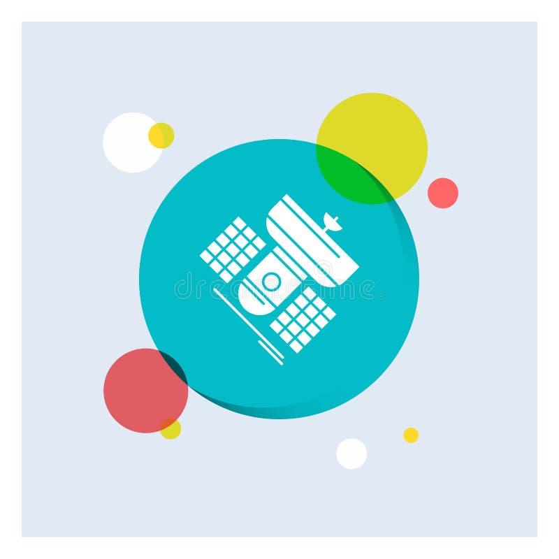 Uitzending, het uitzenden, mededeling, satelliet, Achtergrond van de het Pictogram kleurrijke Cirkel van telecommunicatie de Witt stock illustratie