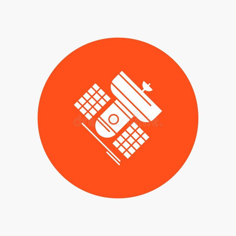 Uitzending, het uitzenden, mededeling, satelliet, Pictogram van telecommunicatie het Witte Glyph in Cirkel Vectorknoopillustratie stock illustratie