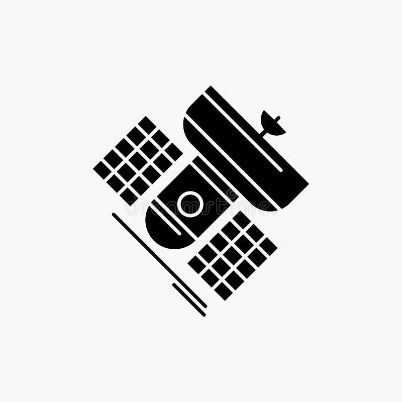 Uitzending, het uitzenden, mededeling, satelliet, het Pictogram van telecommunicatieglyph Vector ge?soleerde illustratie stock illustratie