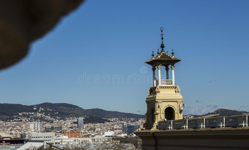 Uitzicht Montjuic x Llacuno-films royalty-vrije stock fotografie