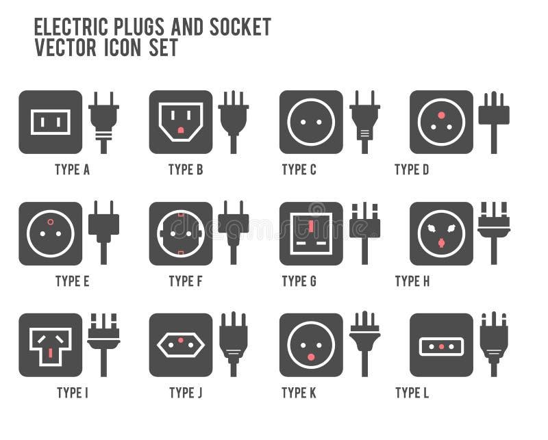 Ujście elektryczna ilustracja Różny typ władzy nasadki set, wektor odizolowywająca ikony ilustracja dla różnego kraju czopuje Pow ilustracja wektor