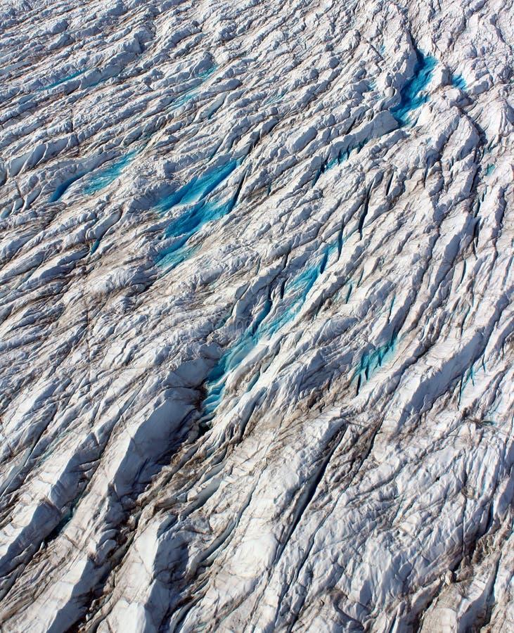 Ujście lodowiec, crevasses, Północno Zachodni Greenland fotografia royalty free