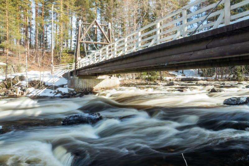 Ujawnienie długa fotografia Tama i próg na rzecznym Jokelanjoki, Kouvola, Finlandia obrazy stock
