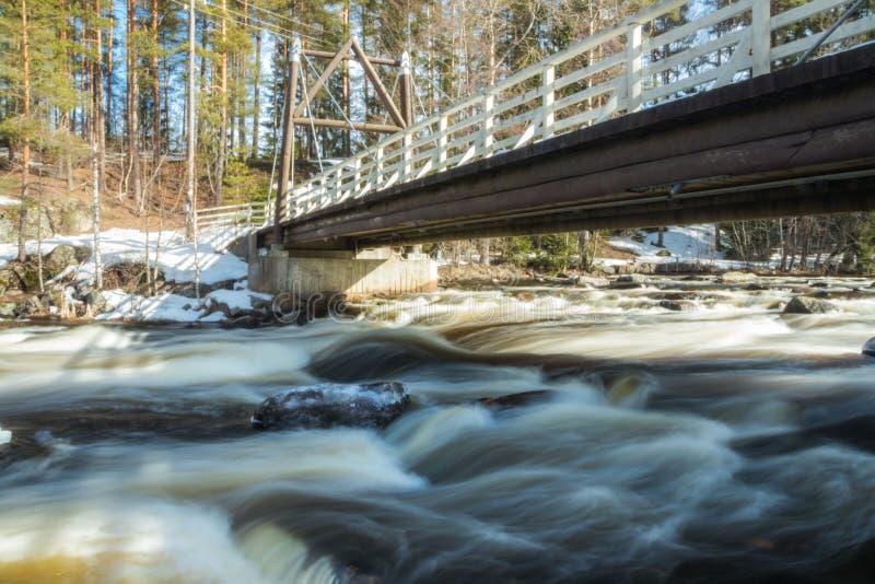 Ujawnienie długa fotografia Tama i próg na rzecznym Jokelanjoki, Kouvola, Finlandia zdjęcia royalty free