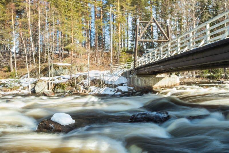 Ujawnienie długa fotografia Tama i próg na rzecznym Jokelanjoki, Kouvola, Finlandia zdjęcie stock