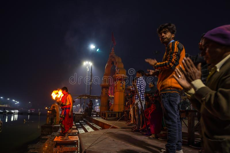 Ujjain, India - December 7, 2017: People attending religious ceremony on holy river at Ujjain, India, sacred town for Hindu relig. Ion stock photo