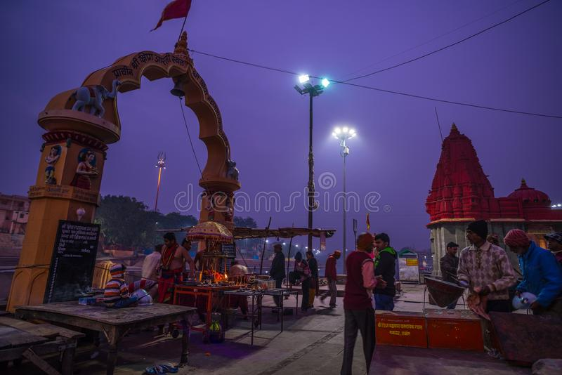 Ujjain, India - December 7, 2017: People attending religious ceremony on holy river at Ujjain, India, sacred town for Hindu relig. Ion stock photos