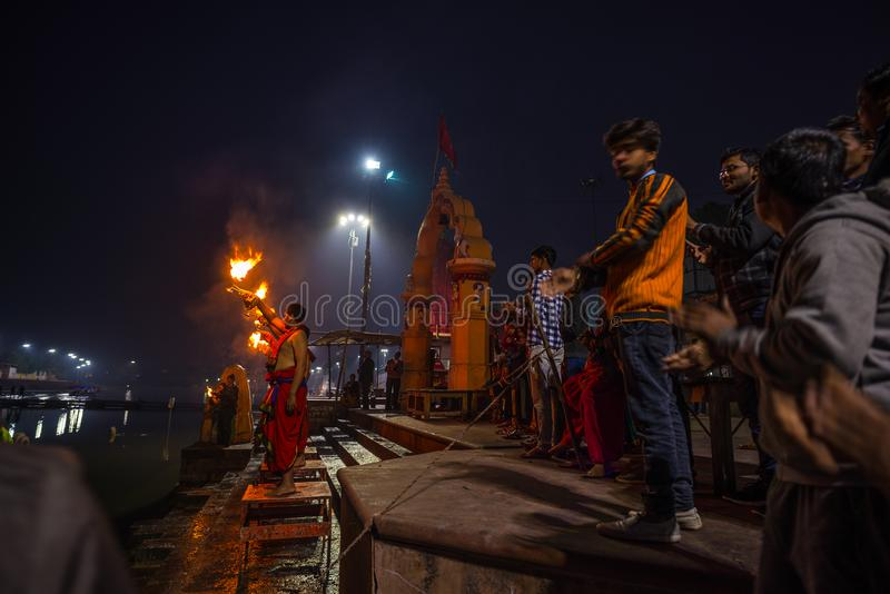 Ujjain, India - December 7, 2017: People attending religious ceremony on holy river at Ujjain, India, sacred town for Hindu relig. Ion royalty free stock photo