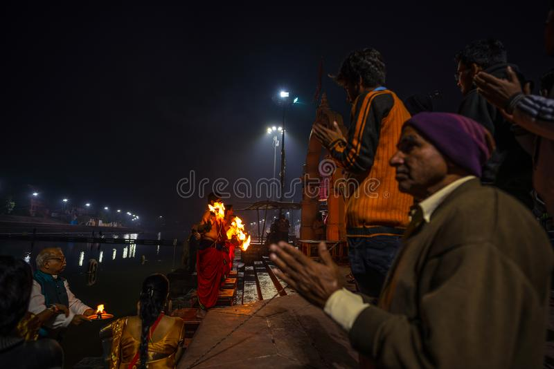 Ujjain, India - December 7, 2017: People attending religious ceremony on holy river at Ujjain, India, sacred town for Hindu relig. Ion stock photography