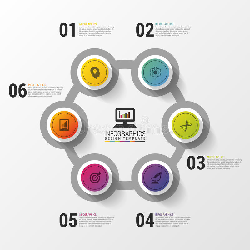 Układ dla twój kroków lub opcj nowożytny projekta szablon Infographics również zwrócić corel ilustracji wektora royalty ilustracja