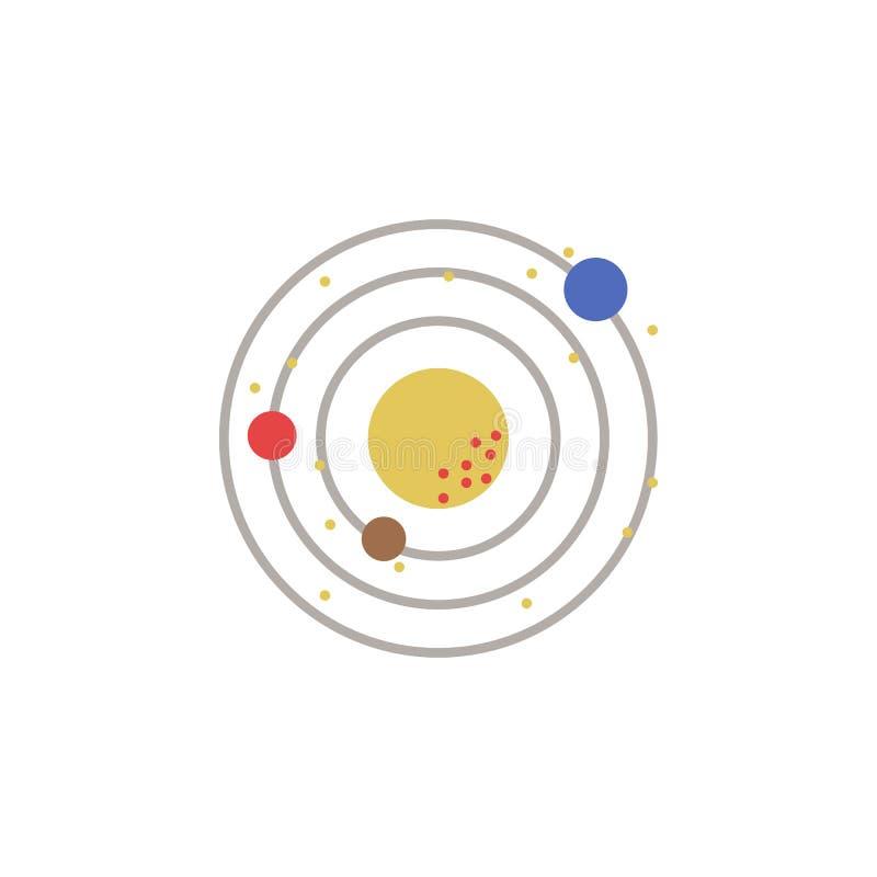Układ Słoneczny barwiona ikona Element astronautyczna ilustracja Znaki i symbol ikona mogą używać dla sieci, logo, mobilny app, U ilustracji