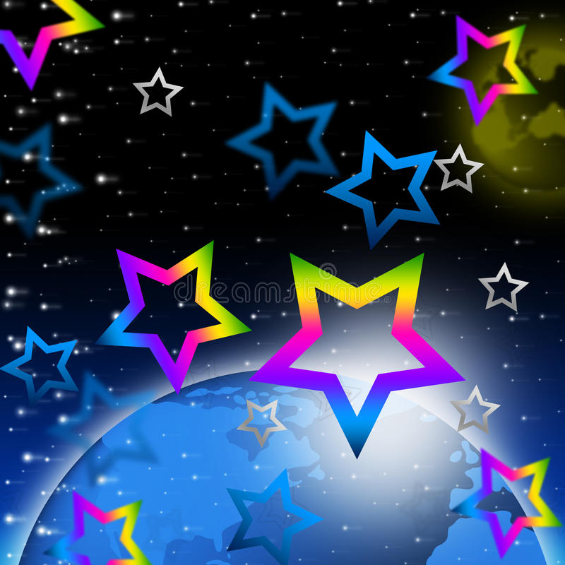 Układ Słoneczny gwiazd tła sposoby Ziemscy I Nadziemscy Bodies royalty ilustracja