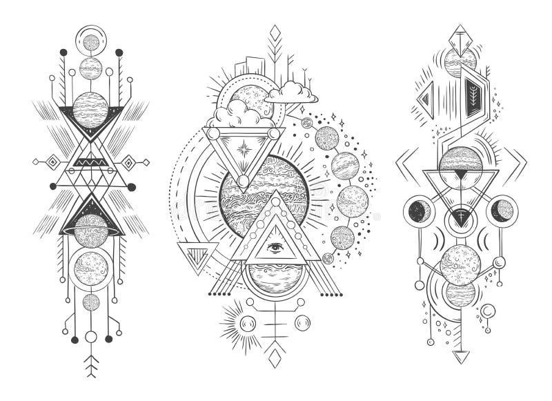 Układ Słoneczny planety nakreślenie Parada planety, księżyc fazy i ręka rysująca astrologia, Astrologiczny tatuażu wektor ilustracji