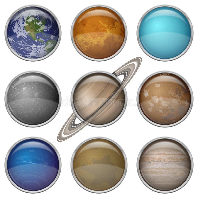 Układ Słoneczny planety, setów guziki ilustracji