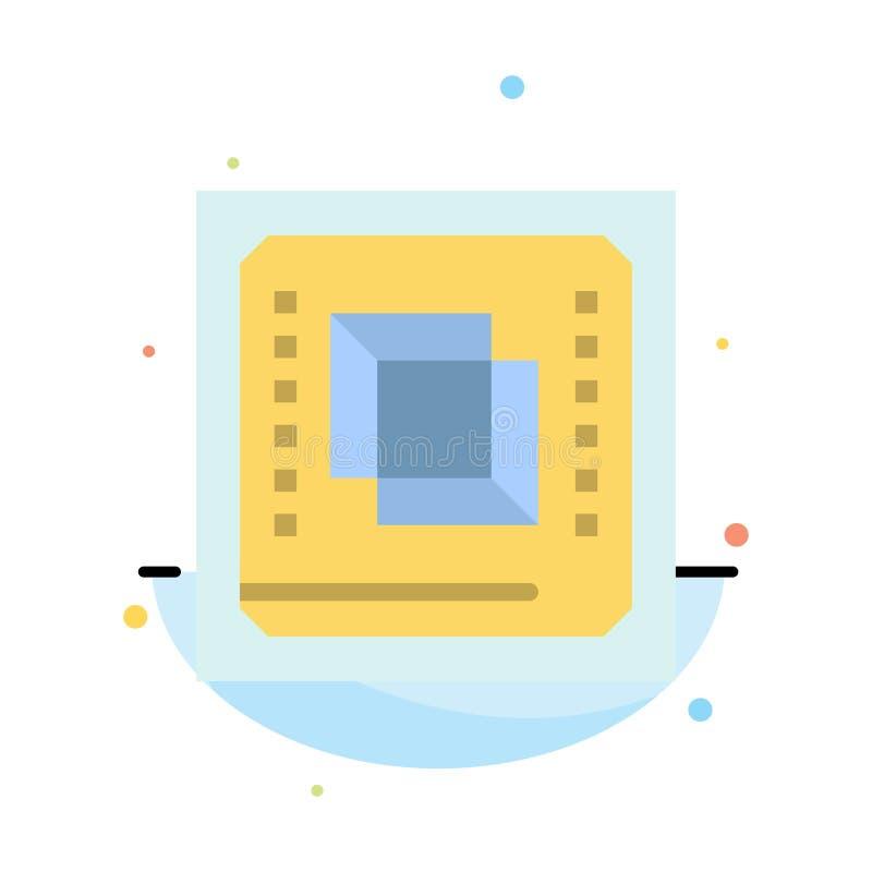 Układ scalony, komputer, jednostka centralna, narzędzia, procesoru koloru ikony Abstrakcjonistyczny Płaski szablon royalty ilustracja