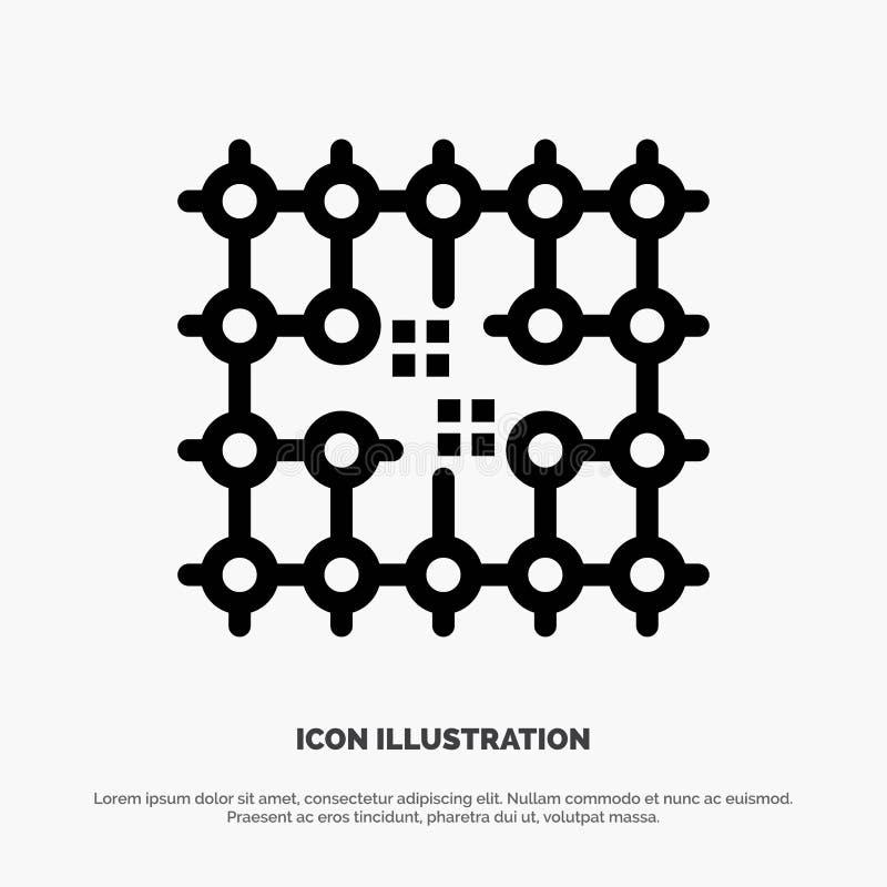 Układ scalony, związek, elektryczność, siatka, materiał ikony Kreskowy wektor ilustracja wektor