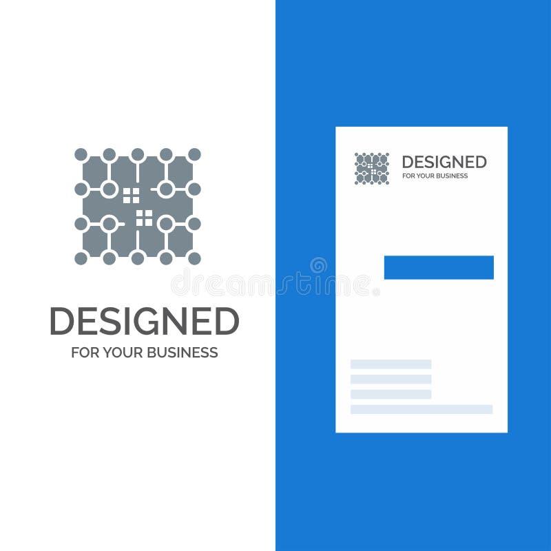 Układ scalony, związek, elektryczność, siatka, materiału logo Popielaty projekt i wizytówka szablon, ilustracji