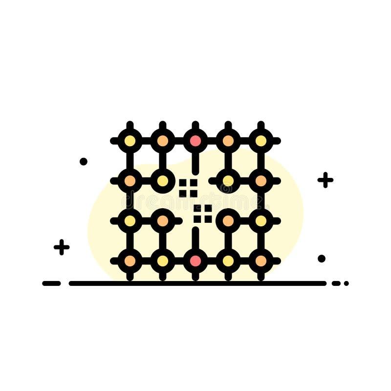 Układ scalony, związek, elektryczność, siatka, Materialna Biznesowa linia Wypełniający mieszkanie ikony sztandaru Wektorowy szabl royalty ilustracja