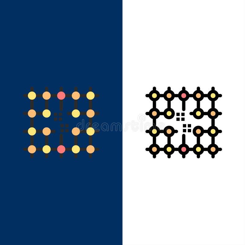 Układ scalony, związek, elektryczność, siatka, Materialne ikony Mieszkanie i linia Wypełniający ikony Ustalony Wektorowy Błękitny royalty ilustracja