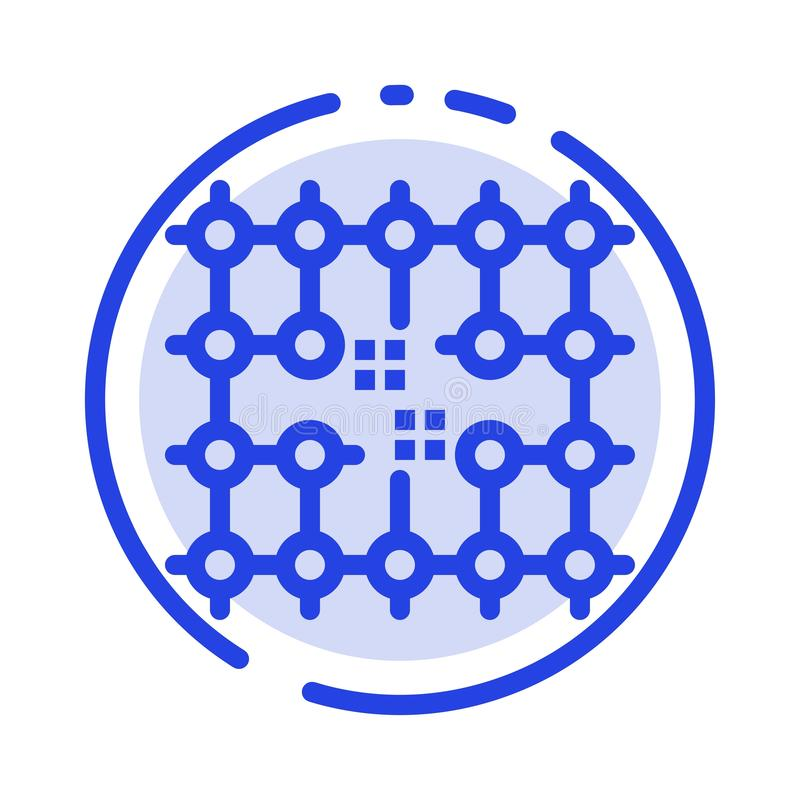 Układ scalony, związek, elektryczność, siatka, Materialny błękit Kropkująca linii linii ikona ilustracja wektor
