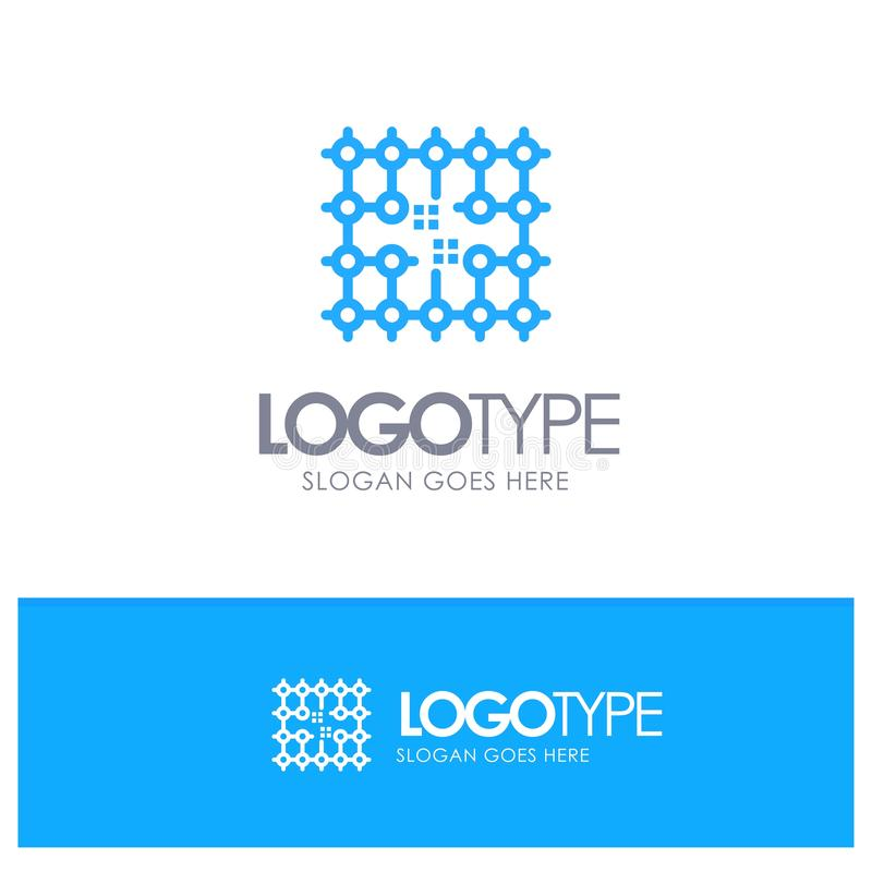 Układ scalony, związek, elektryczność, siatka, Materialny Błękitny konturu logo z miejscem dla tagline ilustracja wektor