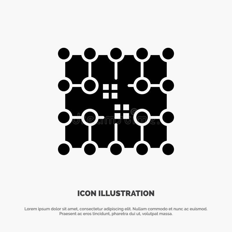 Układ scalony, związek, elektryczność, siatka, Materialny stały glif ikony wektor royalty ilustracja
