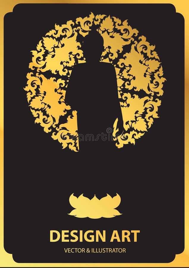 Układ sylwetka Buddha wektor ilustracji