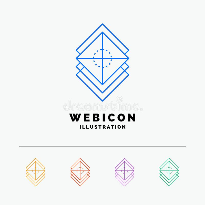 Układa, projektuje, ablegruje 5 koloru linii sieci ikony szablon odizolowywającego na bielu, warstwy, sterta, r?wnie? zwr?ci? cor ilustracji