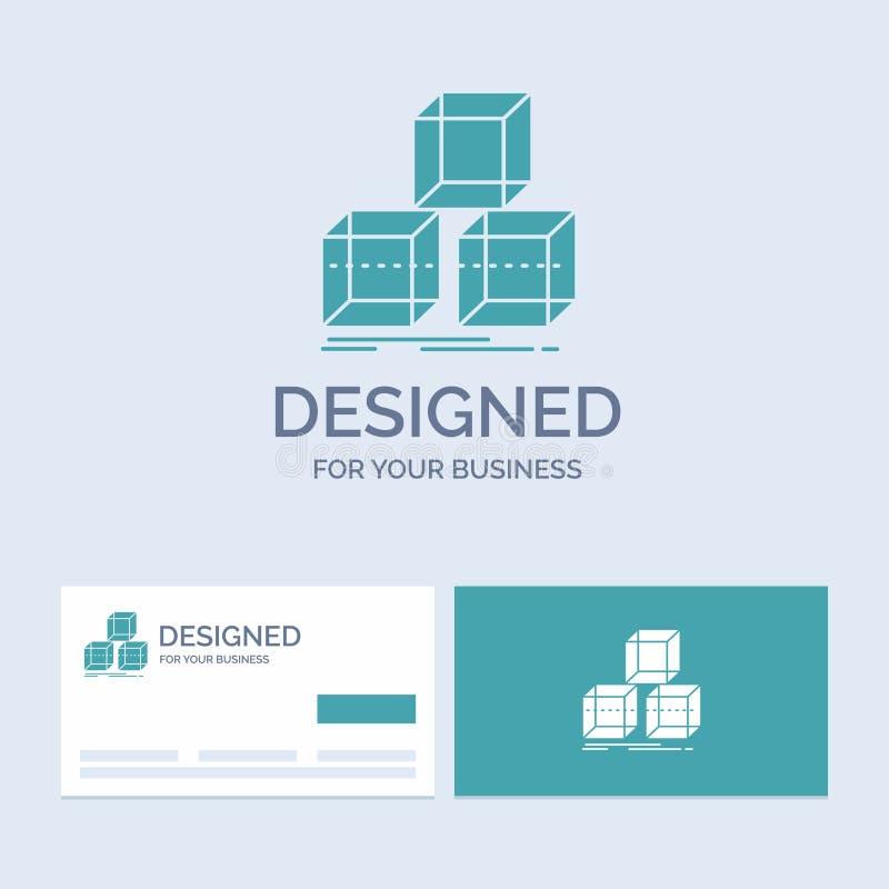 Układa, projektuje, broguje, 3d, pudełkowaty Biznesowy logo glifu ikony symbol dla twój biznesu Turkusowe wizyt?wki z gatunku log ilustracja wektor