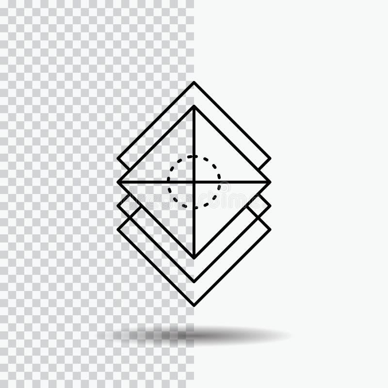 Układa, projektuje, warstwy, sterta, warstwy Kreskowa ikona na Przejrzystym tle Czarna ikona wektoru ilustracja ilustracja wektor