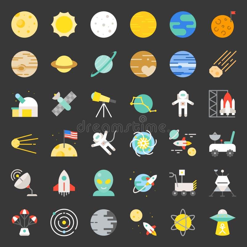 Układu Słonecznego, przestrzeni i astronauty ikony, płaski projekt ilustracji