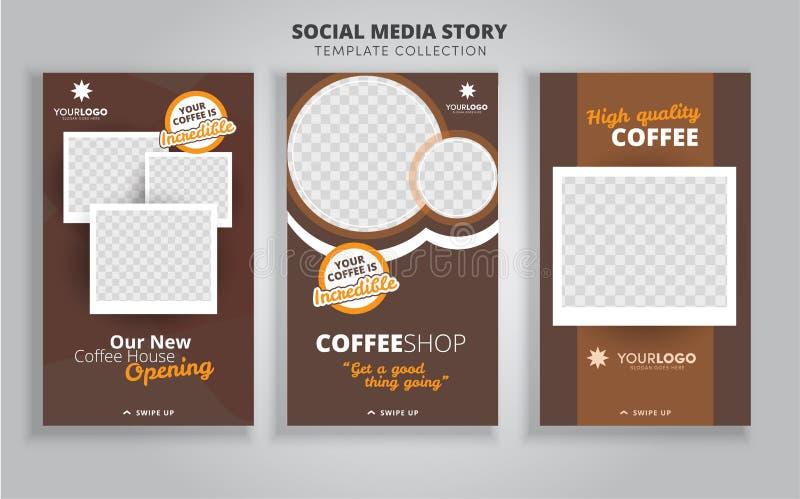 3 układu szablonu dla ogólnospołecznych środków, mobilnych apps lub ulotka projekta z kawą, Set karty z filiżanką i deserami z ch ilustracji