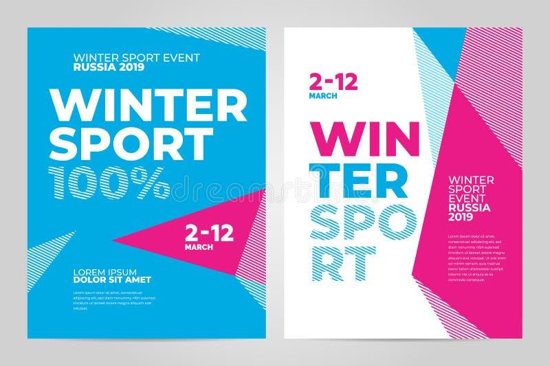 Układu szablonu plakatowy projekt dla zimy wydarzenia sportowego 2019