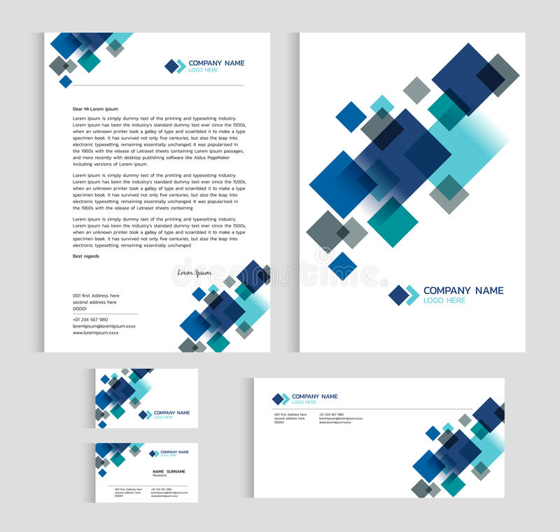 Układu szablonu rozmiaru A4 pokrywa, strony wizytówka i list, - Błękitnego Diamentowego warstwa ostrego abstrakcjonistycznego wek ilustracji